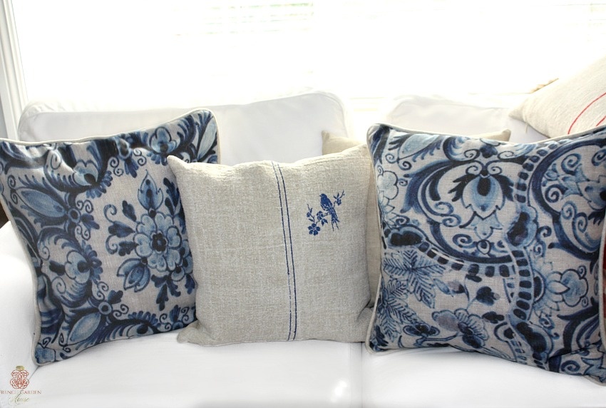 French Blue Linen Custom Designer Pillows Pair