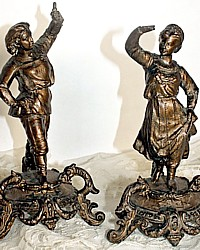 Antique French Courting Couple Figural Pair