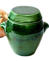French Green Pottery Souvenir Covered Small Urn with Handles