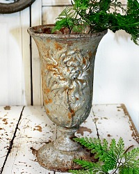 19th Century French Cast Iron Jardin Vase Chrysanthemum