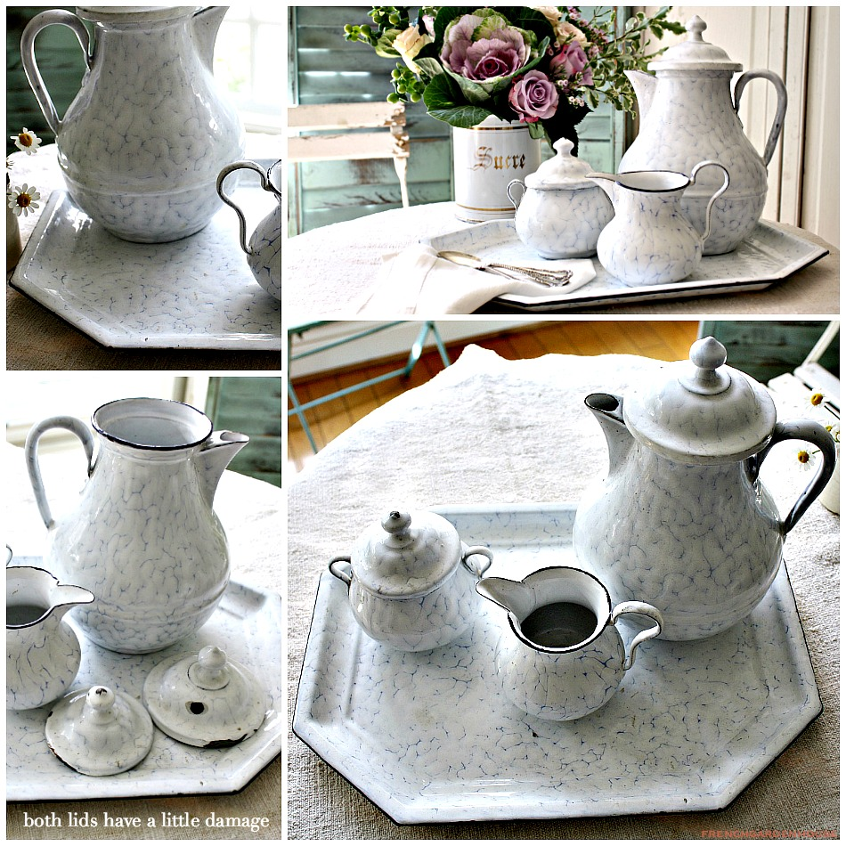 Enamel Tray Coffee Table: Antique French Rare Enamelware Coffee Set With Tray