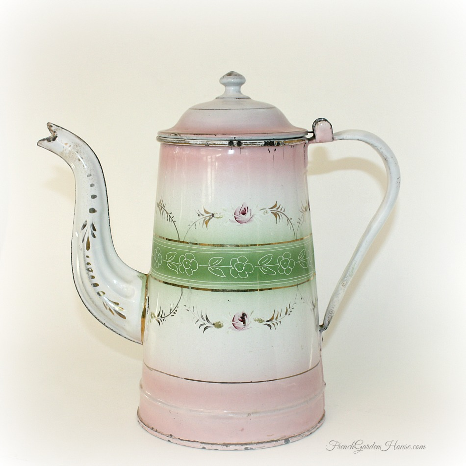 antique 19th century french enamelware pink floral cafetiere coffee pot. Black Bedroom Furniture Sets. Home Design Ideas