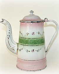 Antique 19th Century French Enamelware Pink Floral Cafetiere Coffee Pot