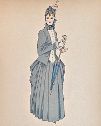 Antique French Hand Colored Fashion Print 1887