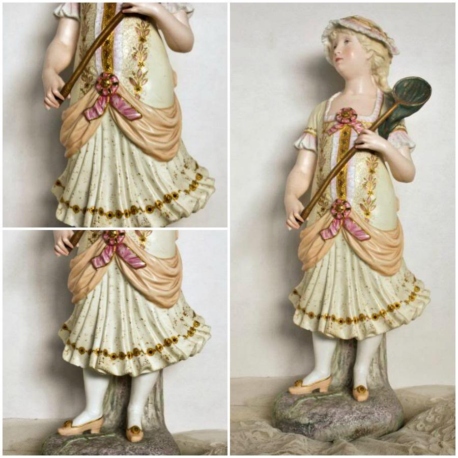 Antique French Old Paris Porcelain Vion et Baury Bisque Figurine Girl