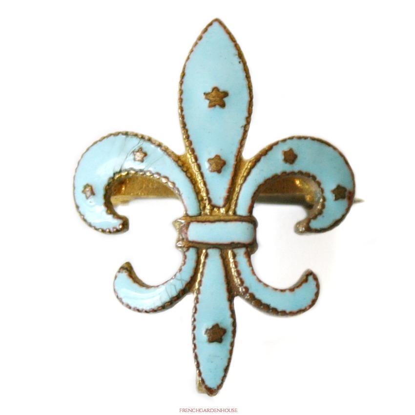 Antique French Guilloche Enamel Fleur De Lis Watch Pin