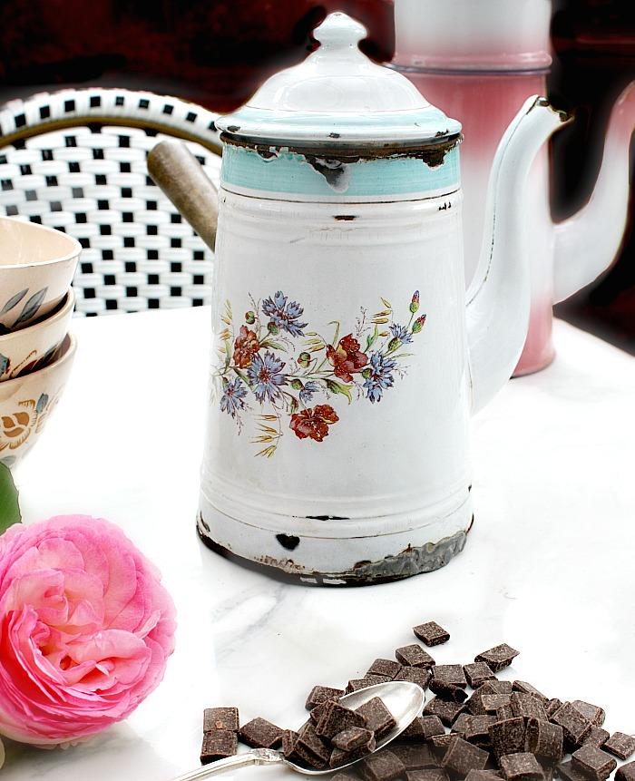 Antique French Enamel Chocolat Pot
