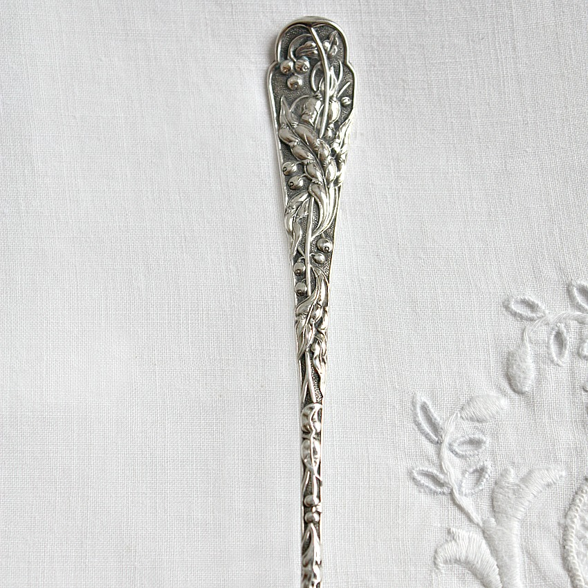 Sterling Silver Olive Spoon with Aesthetic Berries Handle