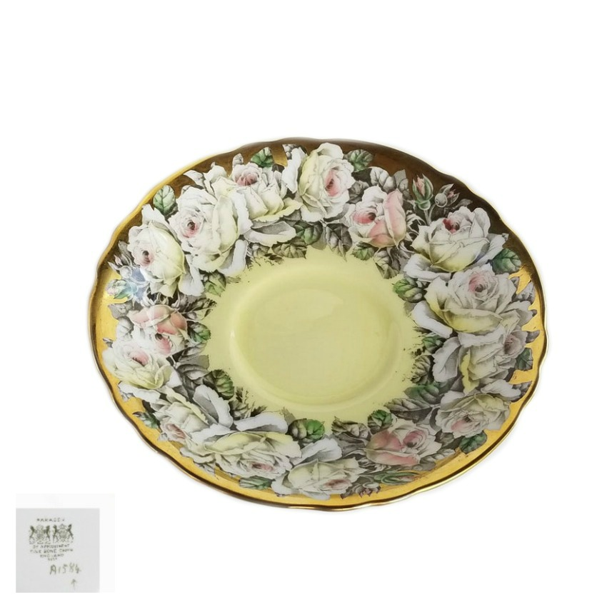 Elegant Paragon Teacup and Saucer Pale Yellow Pink Rose Gold Garland