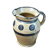 French Country Hand Painted Blue Dot Pitcher