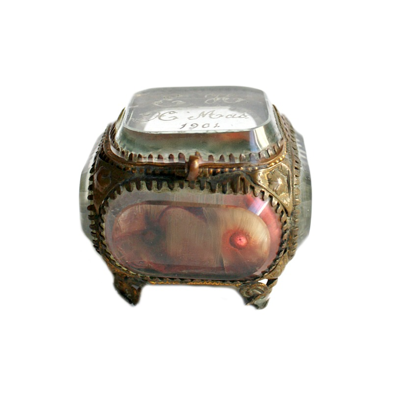 Antique French Glass Gilt Souvenir Jewelry Casket