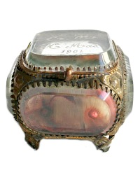 Antique French Glass Gilt Souvenir Jewelry Casket
