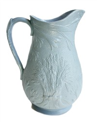 19th Century Smear Glazed Light Blue Lilies Pitcher
