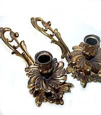 French Antique Gilt Bronze Rococo Candleholders Pair