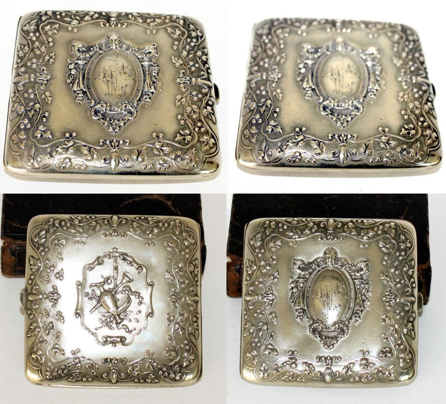 Antique French Art Nouveau Silver Plate Monogrammed Cigarette or Card Case Gilt Wash