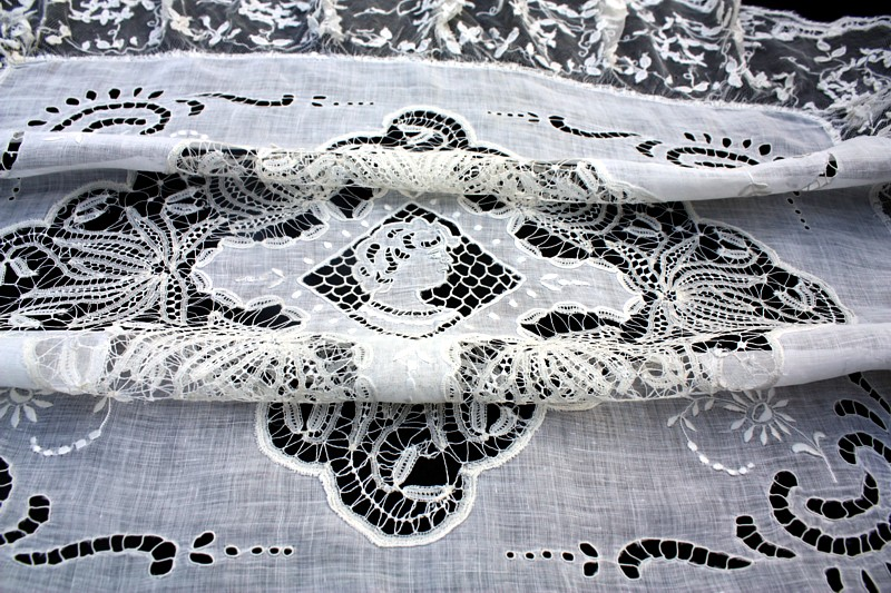 Antique 19th Century Bobbin Net Lace Figural Tablecloth