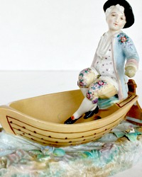 Antique Meissen Style Porcelain Young Man in Boat Figurine