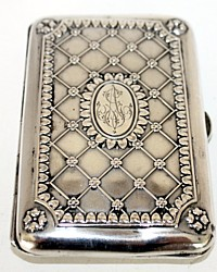 Antique Continental Silver Gilt Cigarette or Card Case Monogram