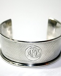 Antique Sterling Silver Cuff Bracelet A E B Monogram Karen Lindner