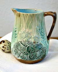 19th Century Small Majolica Pitcher Ferns and Lily Pond