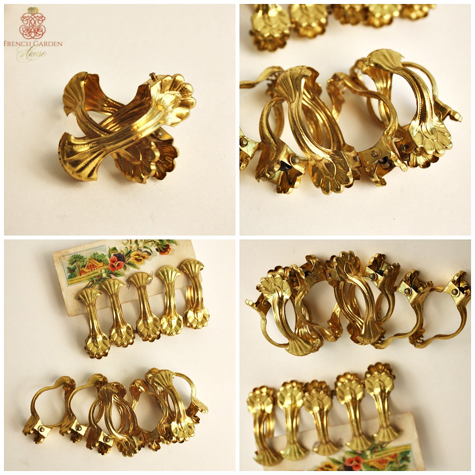 Ornate French Chateau Gilt Curtain Rings Clips Set of 12 with Holdbacks
