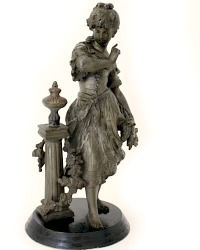 Antique French Sculpture Young Girl with Floral Garland