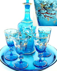 Antique French Blue Enameled Liqueur Decanter Glass Set Birds