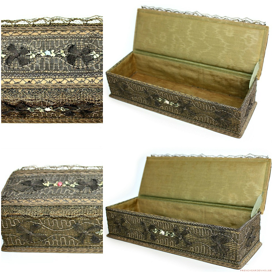 Antique French Metallic Lace Dresser Box with Ribbon Rose Decoration
