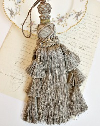 Large French Versailles Grey Taupe Tassel