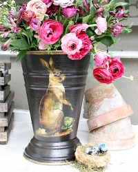 NEW SIZE! Limited Edition French Country Jardiniere Hare Noir