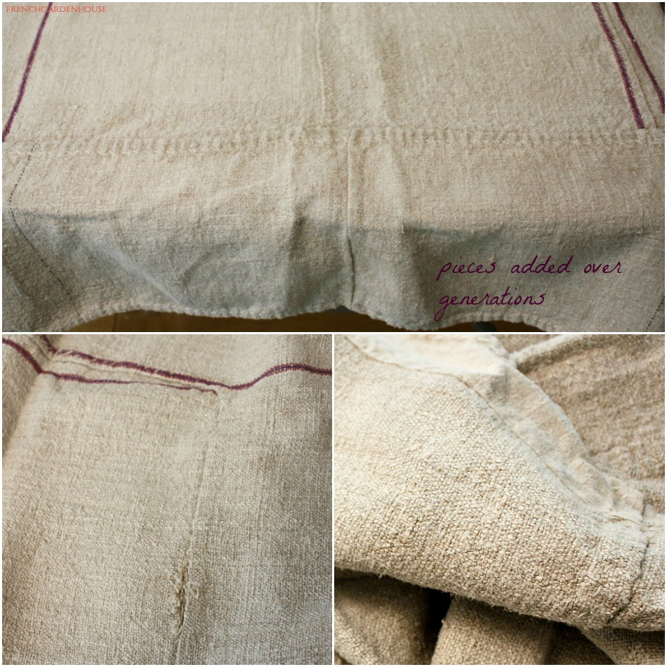 Antique French Country Hand Woven Linen Tablecloth Purple Stripes
