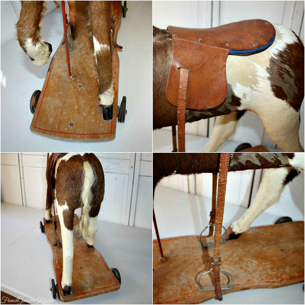 Rare French Antique Toy Horse With Hide Amp Leather Saddle 1880