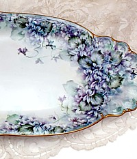 Stunning Antique Limoges France One of a Kind Huge Hand Painted Porcelain Tray Violets