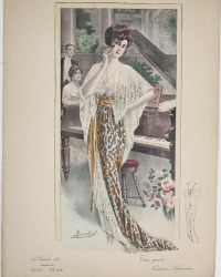 Antique French Belle Époque Fashion Print Hand Colored Tea Gown Laferriere