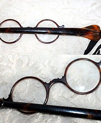 Antique French Faux Tortoise Shell Long Handled Lorgnette, Opera Glasses - Tortoiseshell