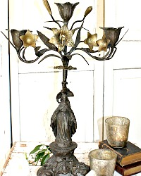 19th Century French Ecclesiastical Figural Holy Mary Bronze Candelabra