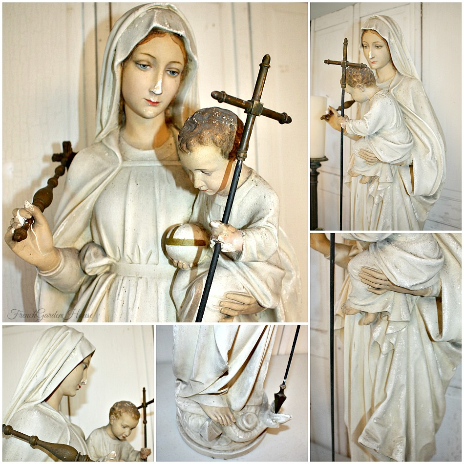 19th Century French Religious Madonna And Child Statue