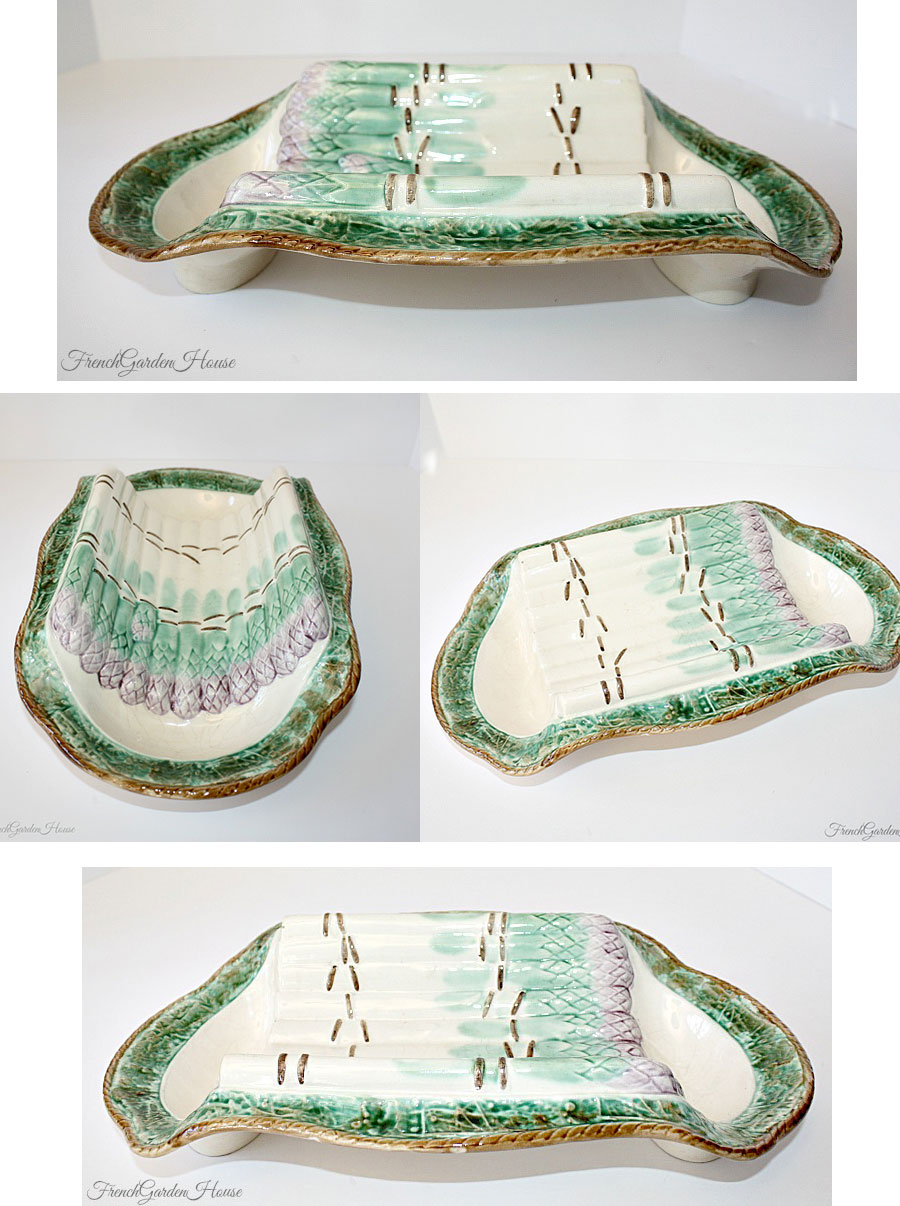 Antique French Majolica Asparagus Barbotine Faience Asparagus Cradle Longchamp