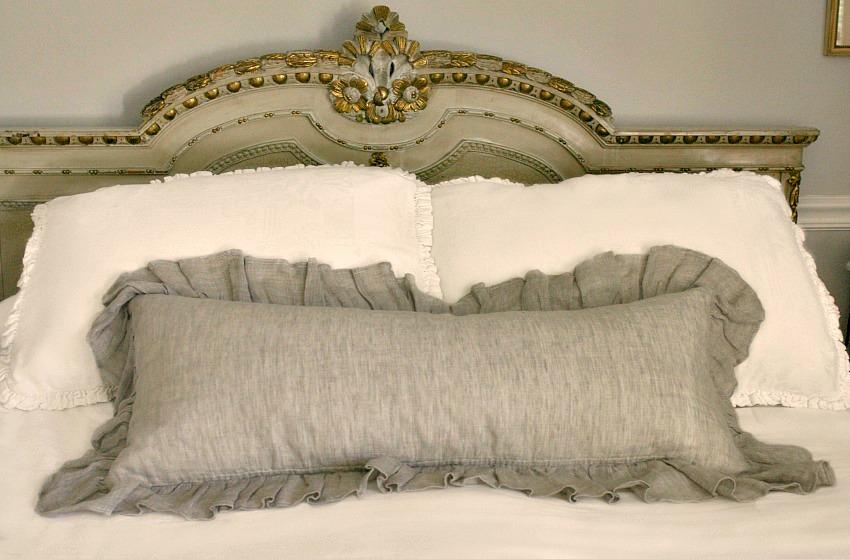 Designer French Natural Linen Large Ruffled Lumbar Pillow