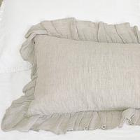 French Natural Linen Large Ruffled Bolster Pillow