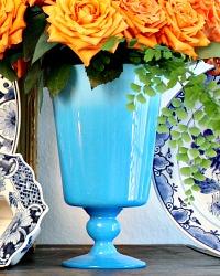 Large Rare Size Blue Opaline Hand Blown Glass Vase