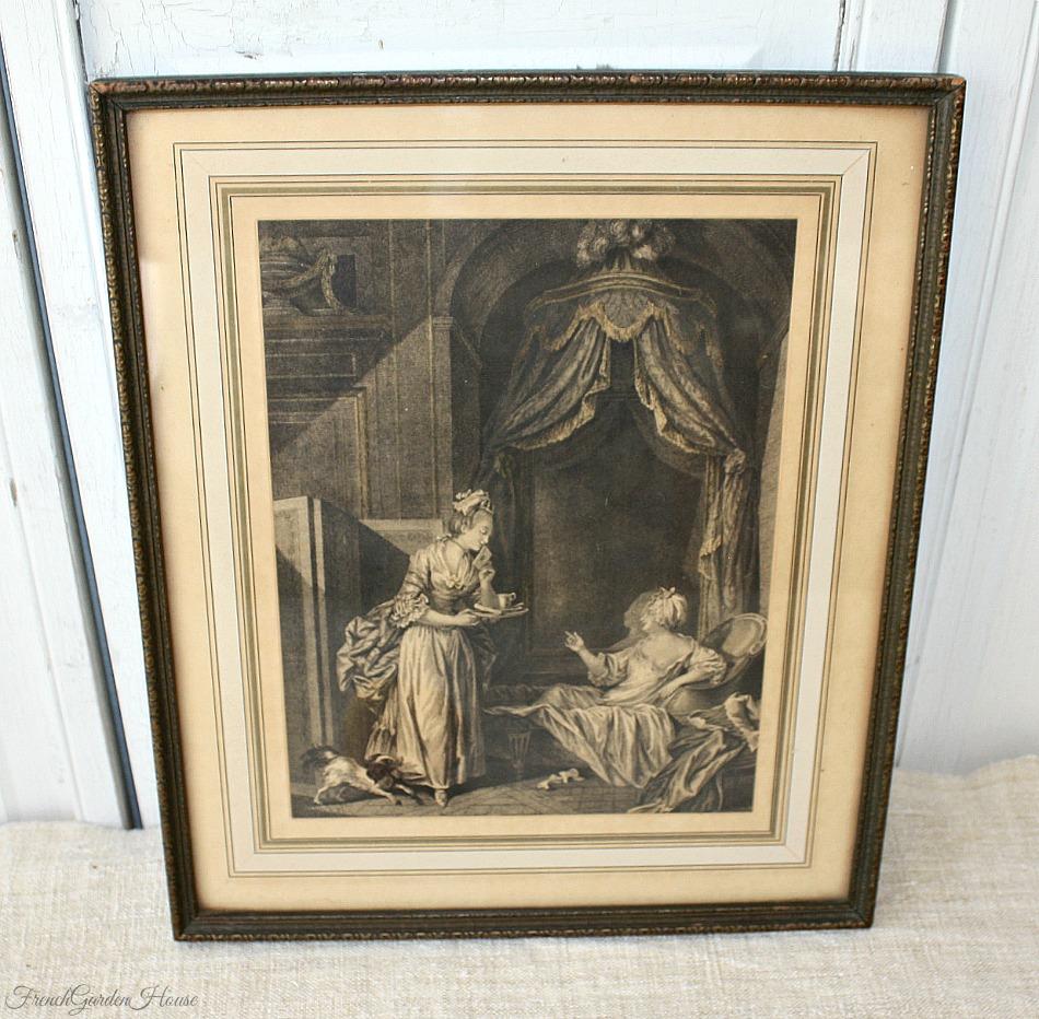 Antique French Boudoir Print Hand Colored Gilt Gesso Frame