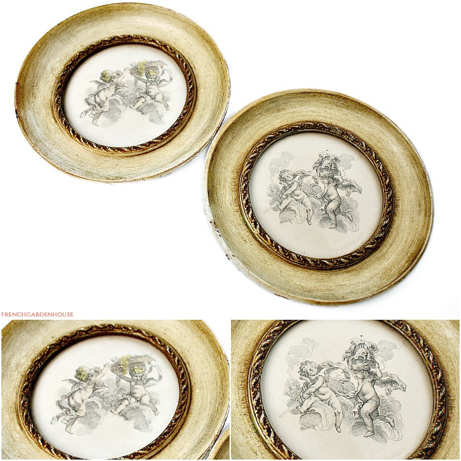 Antique Continental Putti Print in Circular Wood Frame Set of 2