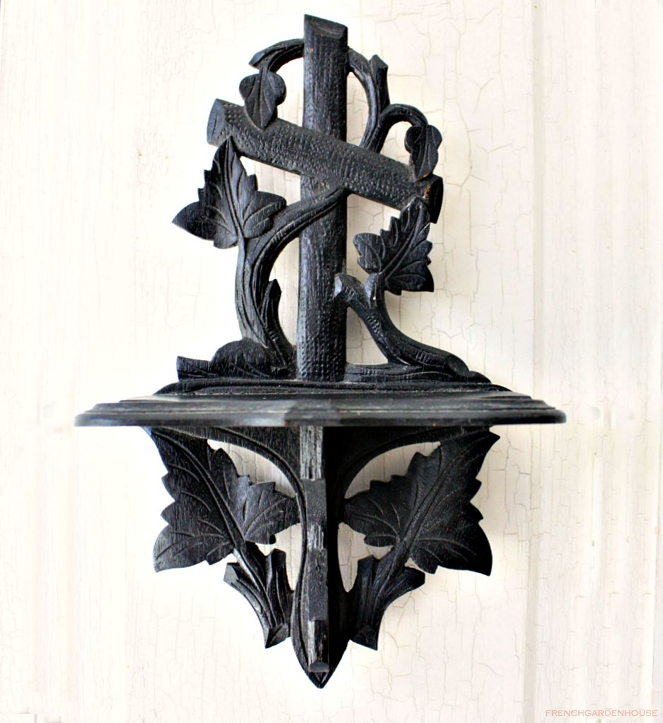 19th Century Carved Wood Cross Wall Display Shelf Black Forest