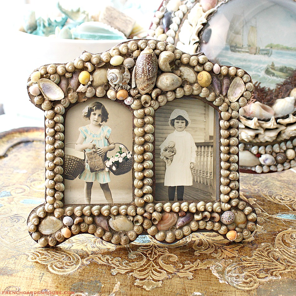 Antique French 1800's Victorian Shell Art Work Double Frame Souvenir