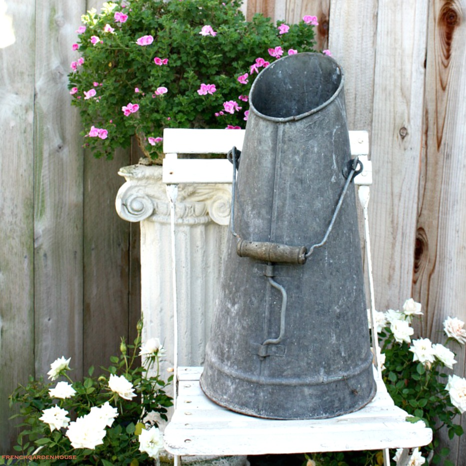 Antique French Zinc Coal Scuttle or Hod