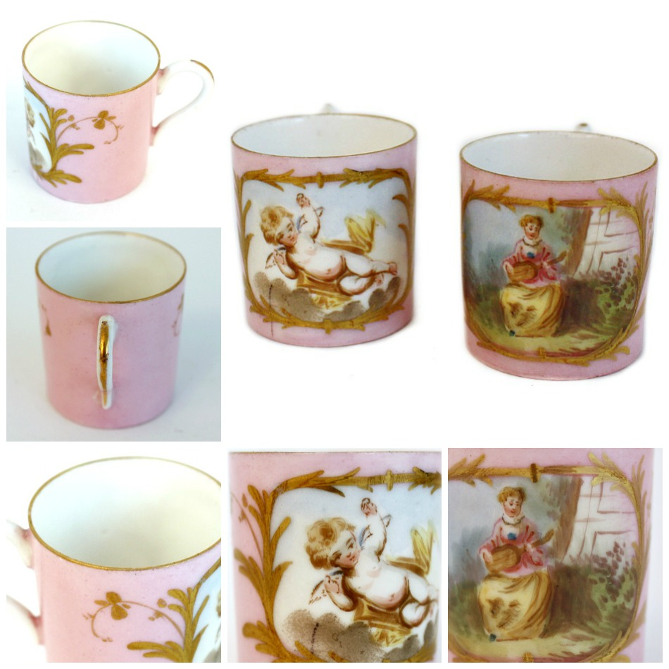 Antique 18th Century French Hand Painted Pink Doll Child's Porcelain Cups