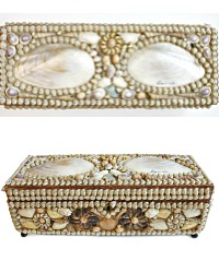 Antique French Shell Work Souvenir Glove or Jewelry Box