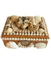 French Shell Art Wood Jewelry Box Silk Lined