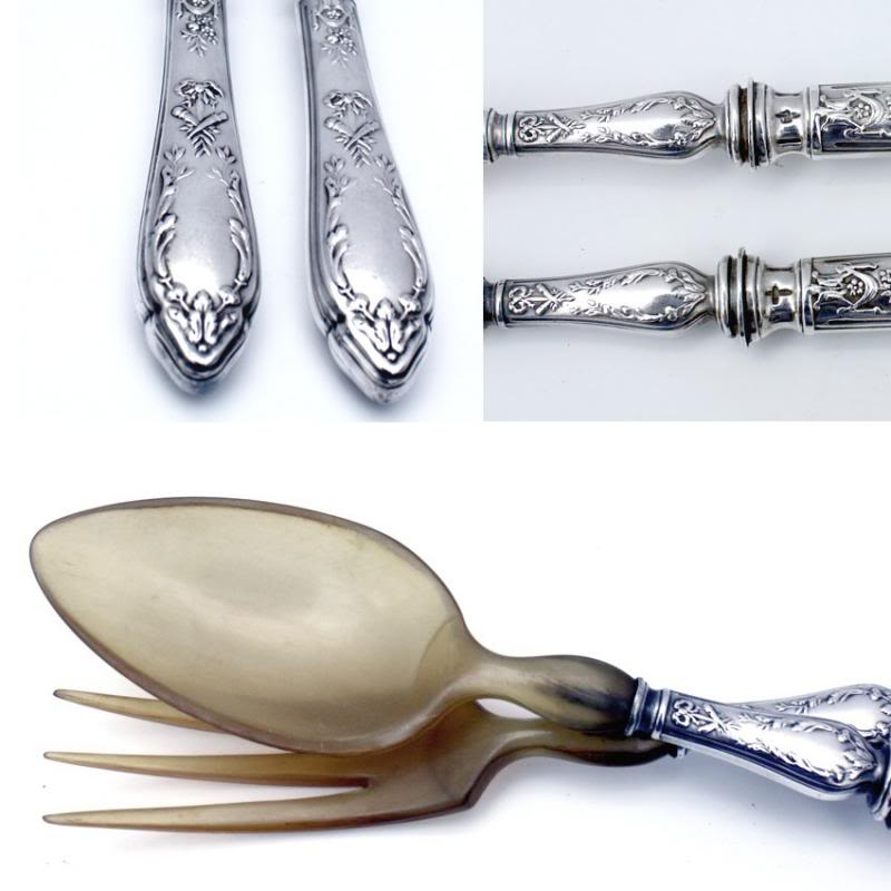 Pair Antique Continental Silver Salad Servers French Torch Design